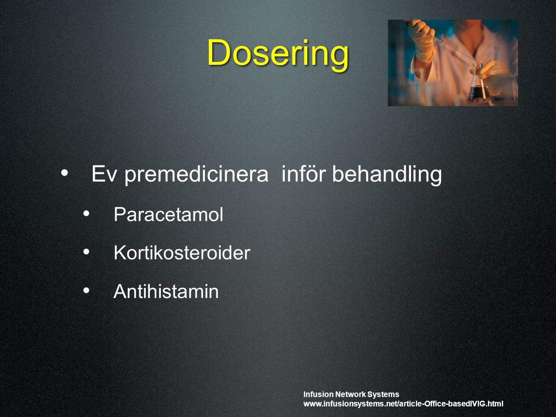Dosering Ev premedicinera inför behandling Paracetamol