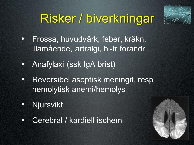Risker / biverkningar Frossa, huvudvärk, feber, kräkn, illamående, artralgi, bl-tr förändr. Anafylaxi (ssk IgA brist)