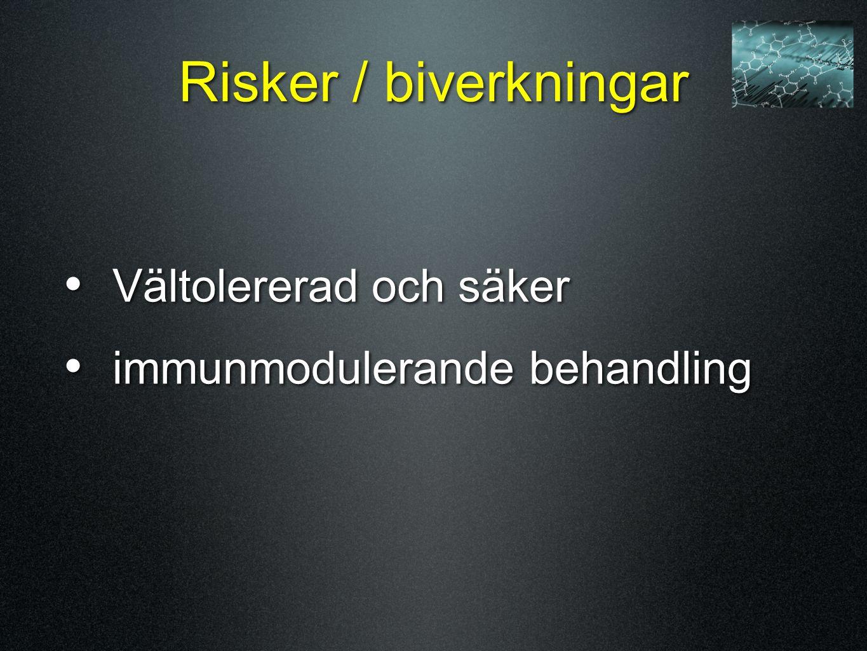 Risker / biverkningar Vältolererad och säker