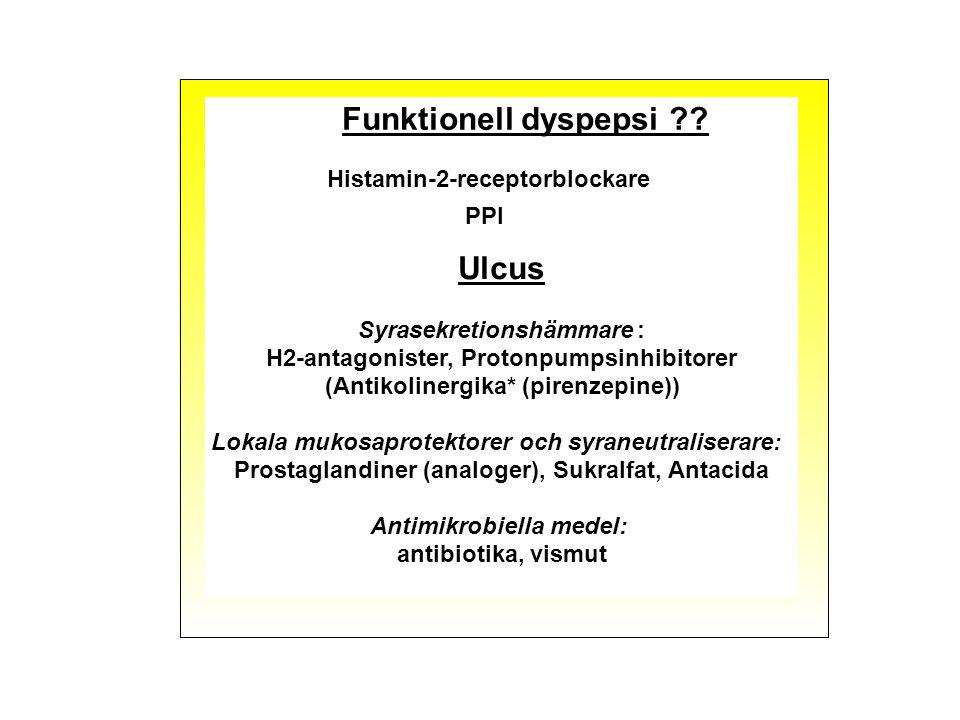 Funktionell dyspepsi Ulcus Histamin-2-receptorblockare PPI