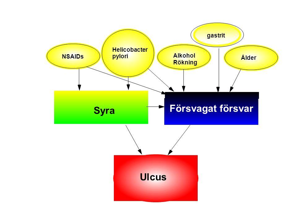 Försvagat försvar Syra Ulcus gastrit Helicobacter NSAIDs pylori