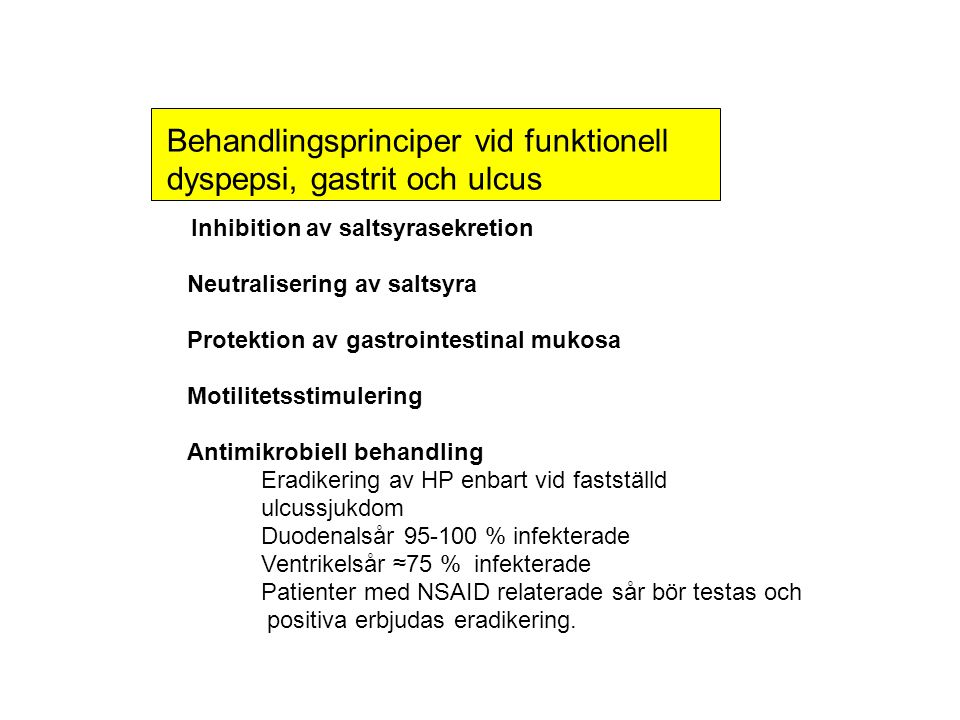 Behandlingsprinciper vid funktionell dyspepsi, gastrit och ulcus