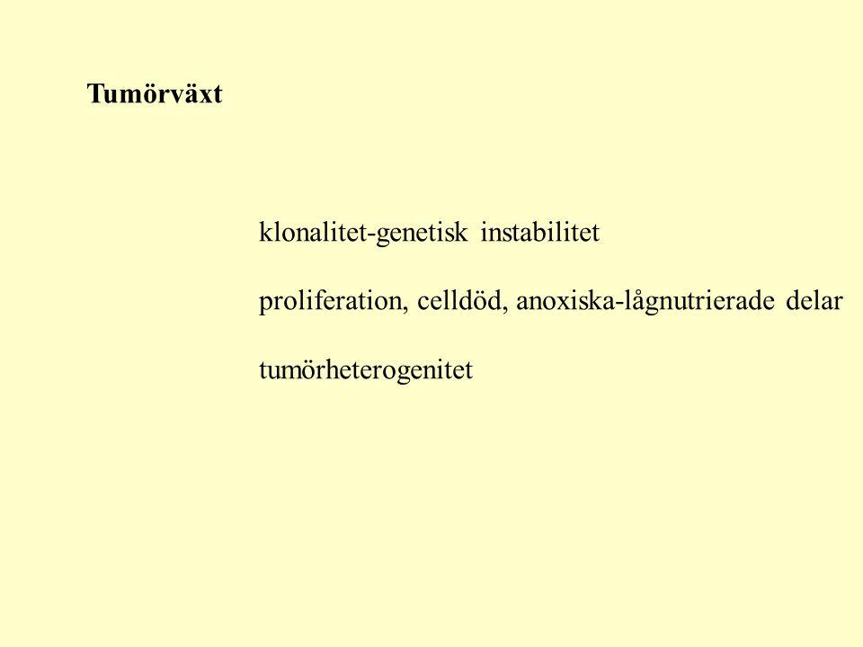 Tumörväxt klonalitet-genetisk instabilitet. proliferation, celldöd, anoxiska-lågnutrierade delar.