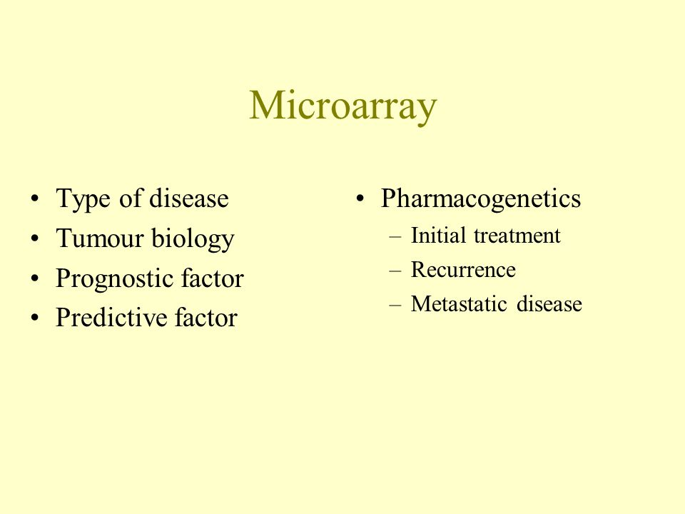 Microarray Type of disease Tumour biology Prognostic factor
