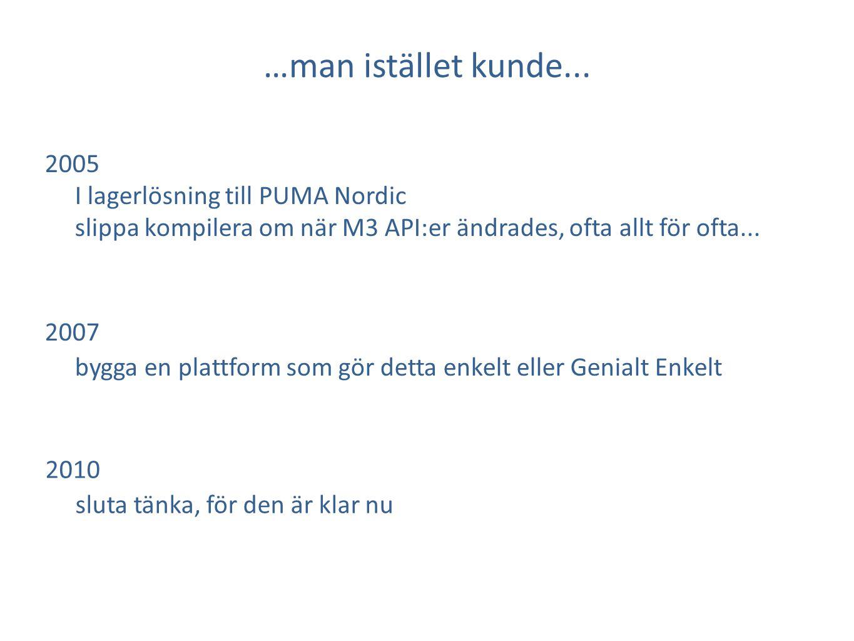 …man istället kunde... 2005 I lagerlösning till PUMA Nordic