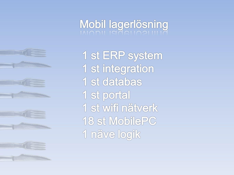 Mobil lagerlösning 1 st ERP system. 1 st integration. 1 st databas. 1 st portal. 1 st wifi nätverk.
