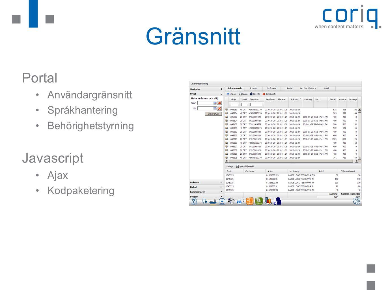Gränsnitt Portal Javascript Användargränsnitt Språkhantering