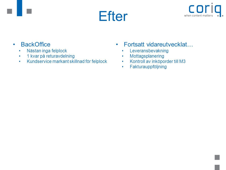 Efter BackOffice Fortsatt vidareutvecklat… Nästan inga felplock