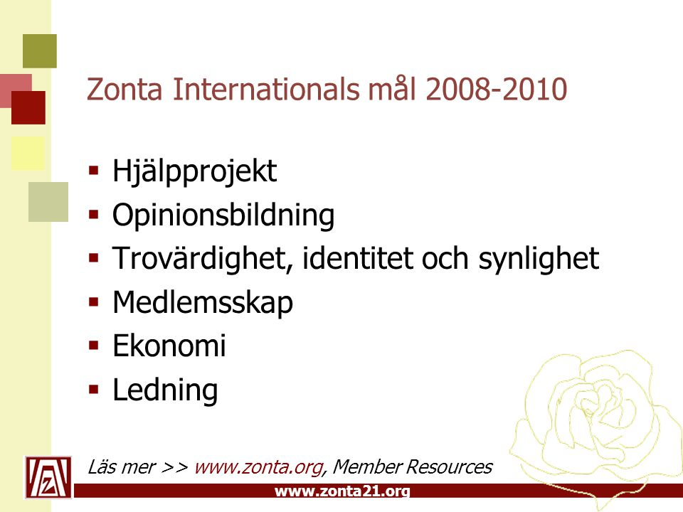 Zonta Internationals mål 2008-2010