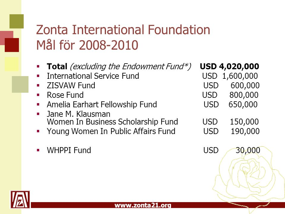 Zonta International Foundation Mål för 2008-2010