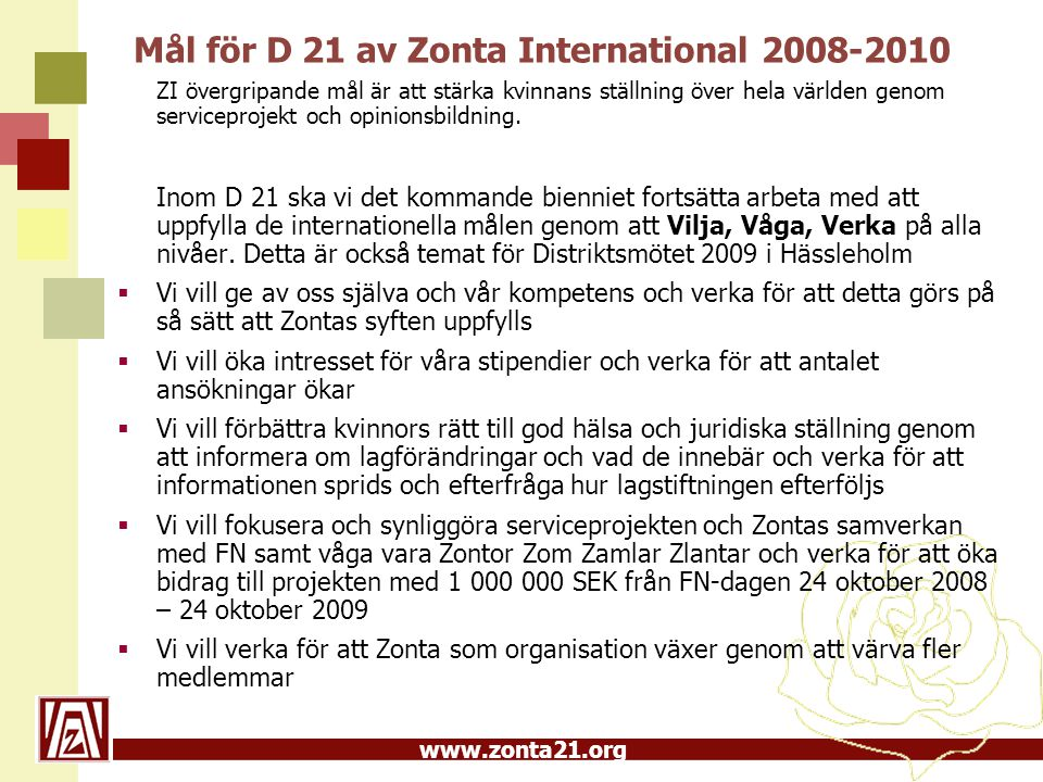 Mål för D 21 av Zonta International 2008-2010