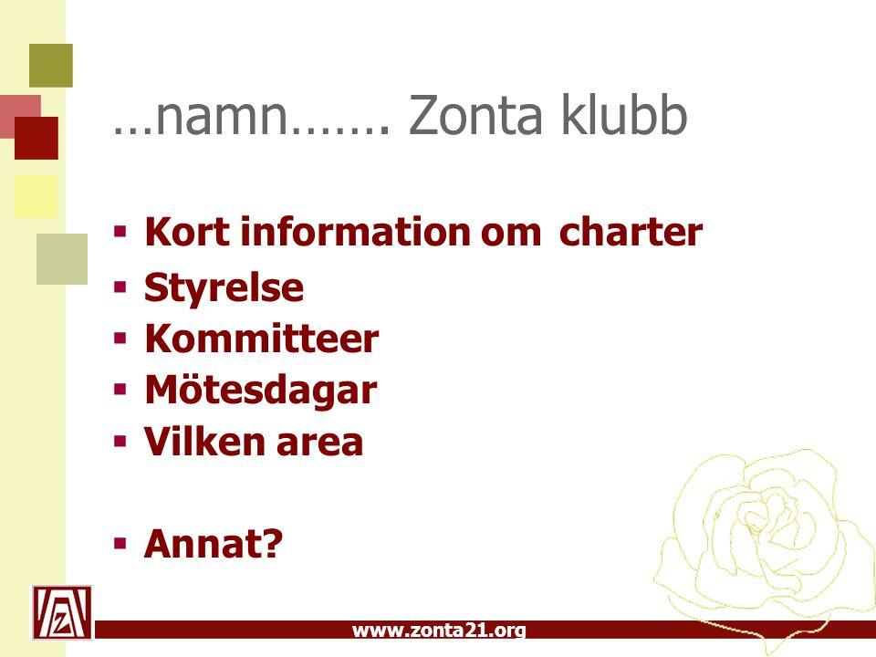 …namn……. Zonta klubb Kort information om charter Styrelse Kommitteer