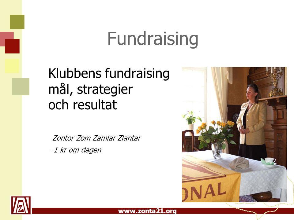 Fundraising Klubbens fundraising mål, strategier och resultat Zontor Zom Zamlar Zlantar.