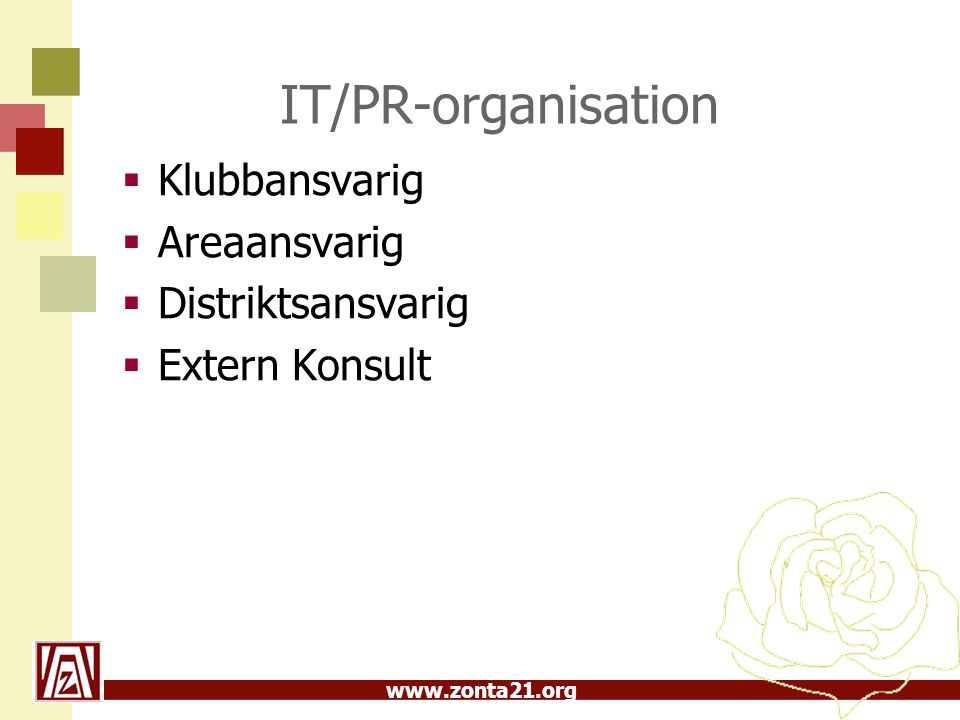 IT/PR-organisation Klubbansvarig Areaansvarig Distriktsansvarig