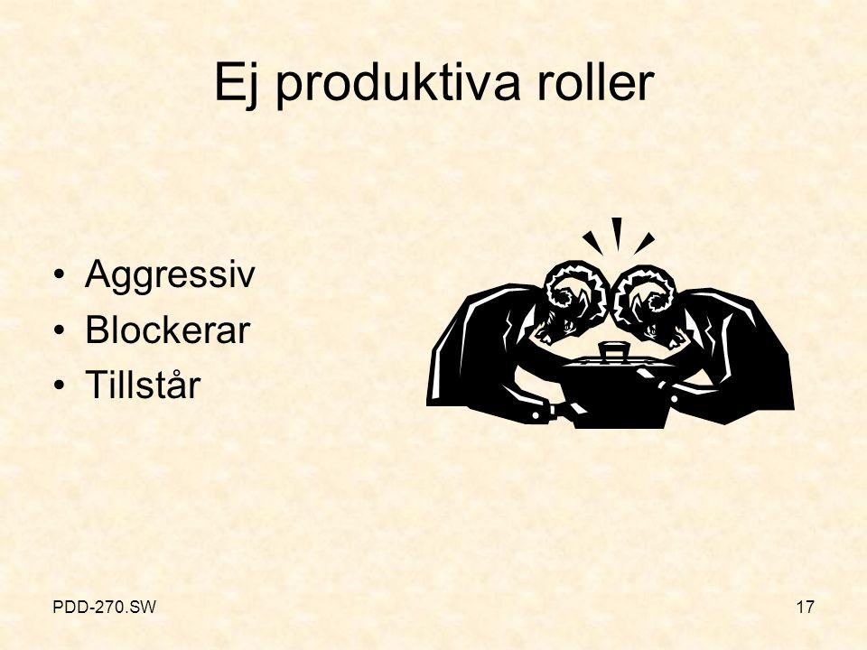 Ej produktiva roller (forts.)