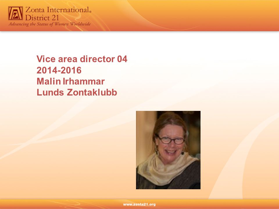 Vice area director 04 2014-2016 Malin Irhammar Lunds Zontaklubb