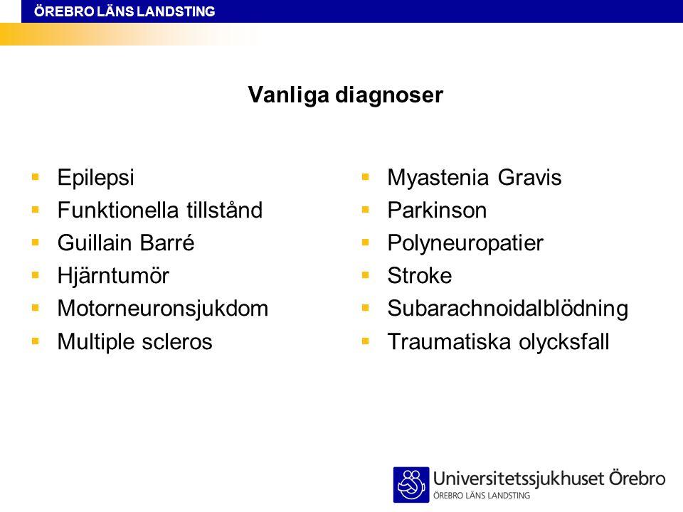Vanliga diagnoser Epilepsi. Funktionella tillstånd. Guillain Barré. Hjärntumör. Motorneuronsjukdom.