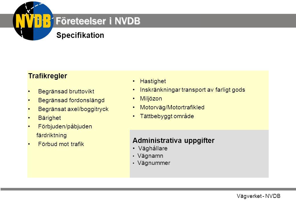 Företeelser i NVDB Specifikation Trafikregler Administrativa uppgifter