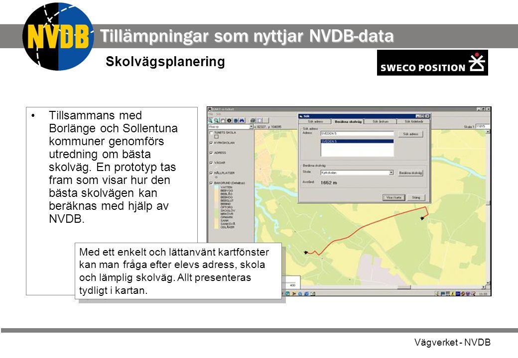 Tillämpningar som nyttjar NVDB-data