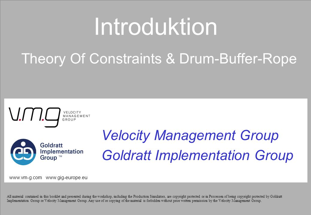 Introduktion Theory Of Constraints & Drum-Buffer-Rope