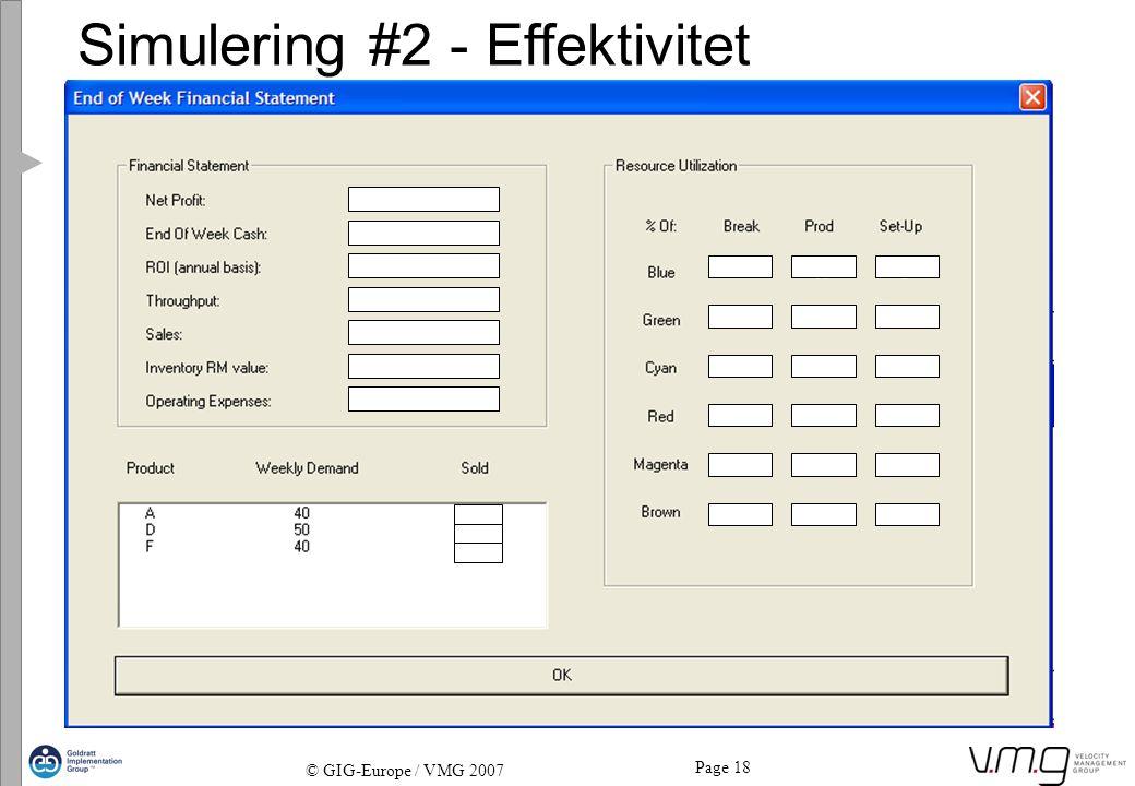 Simulering #2 - Effektivitet