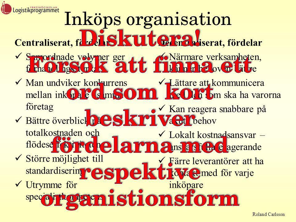 Inköps organisation Diskutera! Försök att finna ett ord som kort beskriver fördelarna med respektive organistionsform.