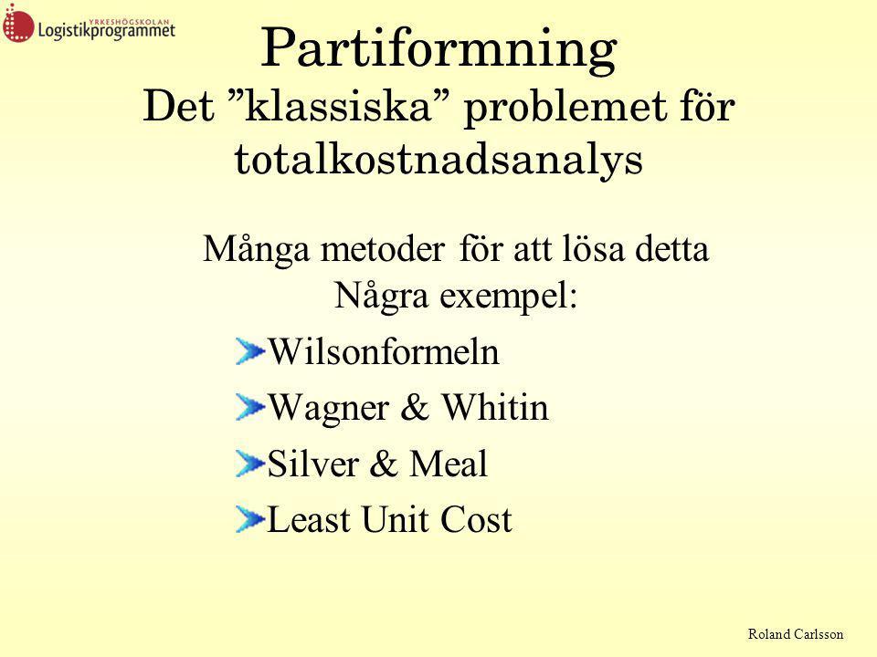 Partiformning Det klassiska problemet för totalkostnadsanalys