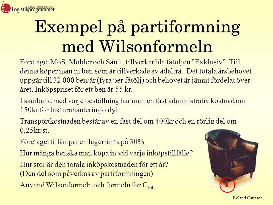 Exempel på partiformning med Wilsonformeln