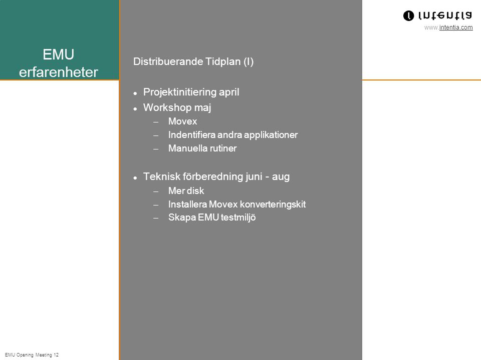 EMU erfarenheter Distribuerande Tidplan (I) Projektinitiering april