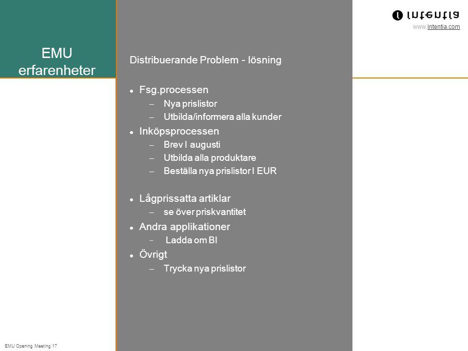 EMU erfarenheter Distribuerande Problem - lösning Fsg.processen