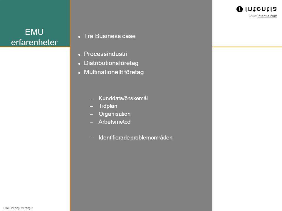 EMU erfarenheter Tre Business case Processindustri