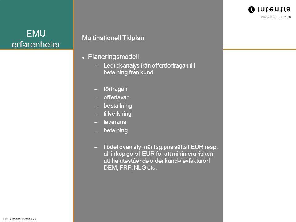 EMU erfarenheter Multinationell Tidplan Planeringsmodell