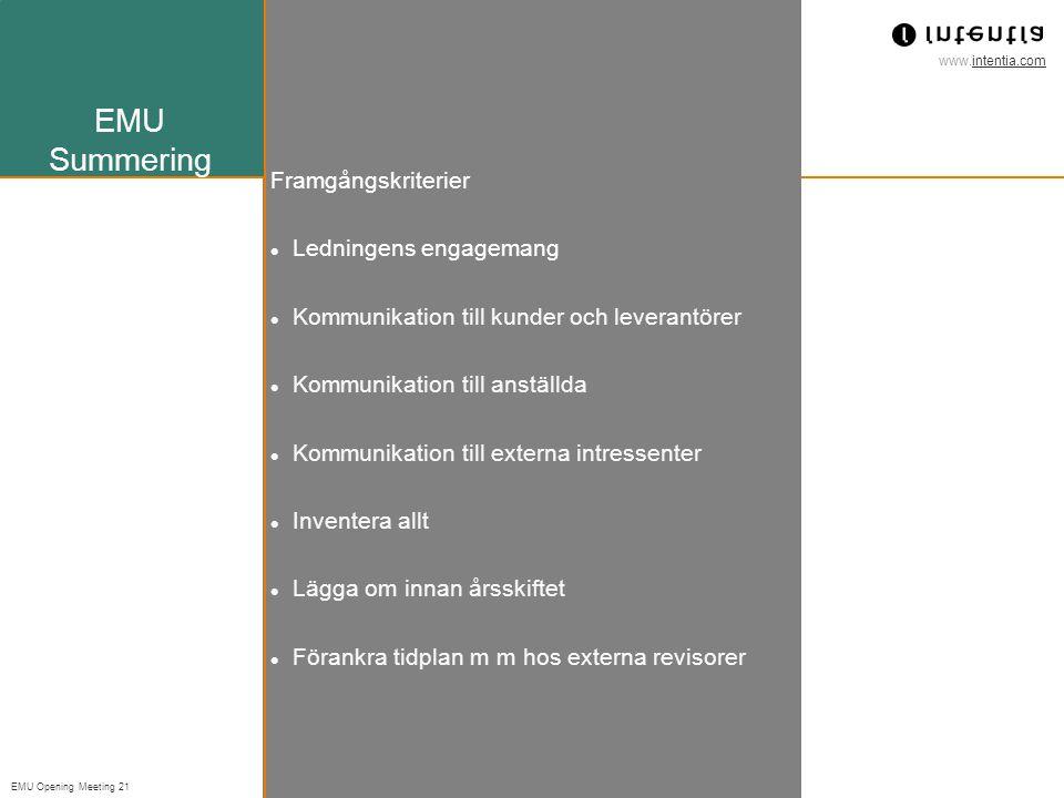 EMU Summering Framgångskriterier Ledningens engagemang