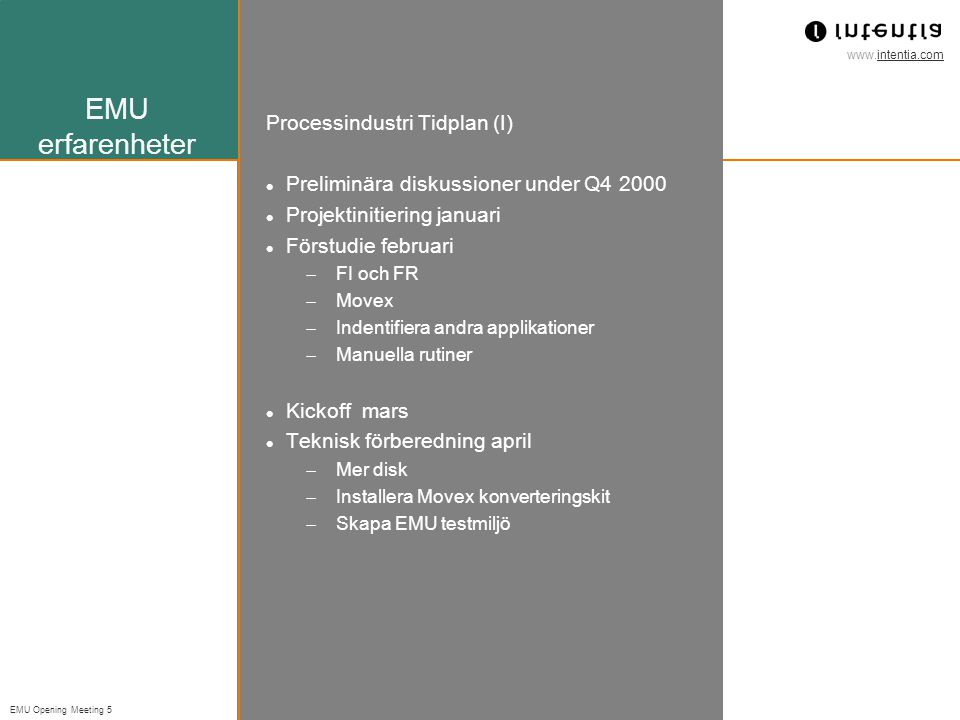 EMU erfarenheter Processindustri Tidplan (I)