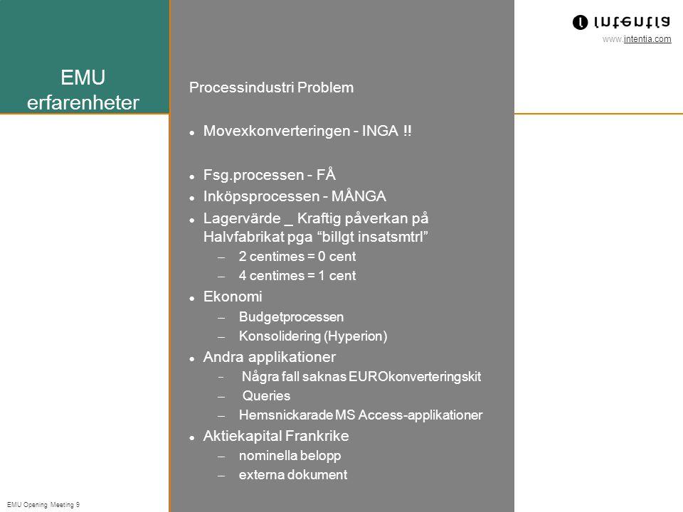 EMU erfarenheter Processindustri Problem Movexkonverteringen - INGA !!