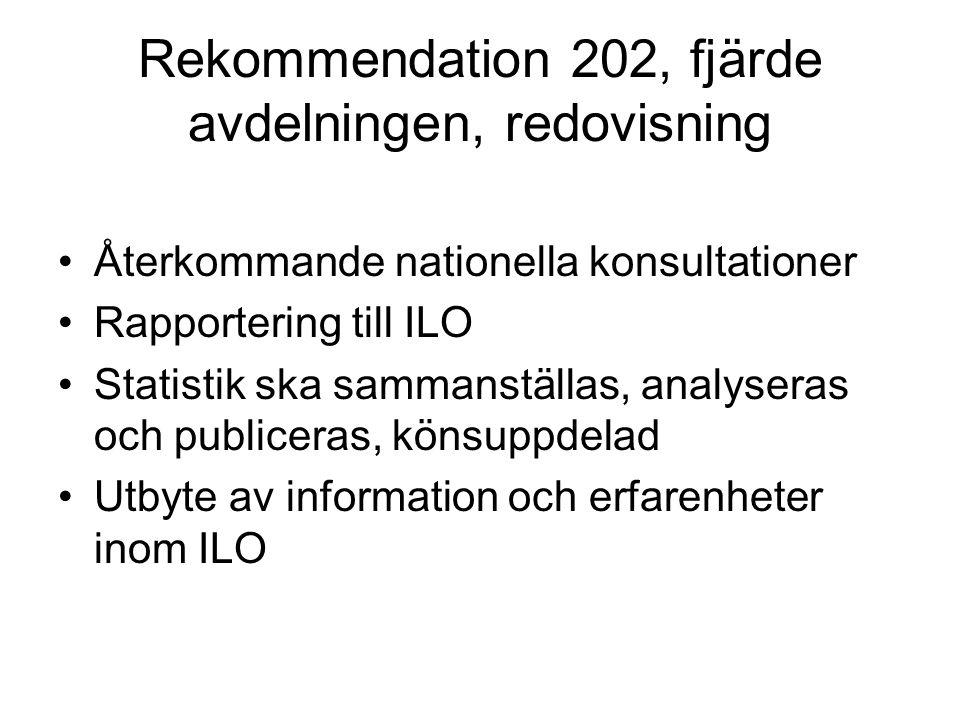 Rekommendation 202, fjärde avdelningen, redovisning
