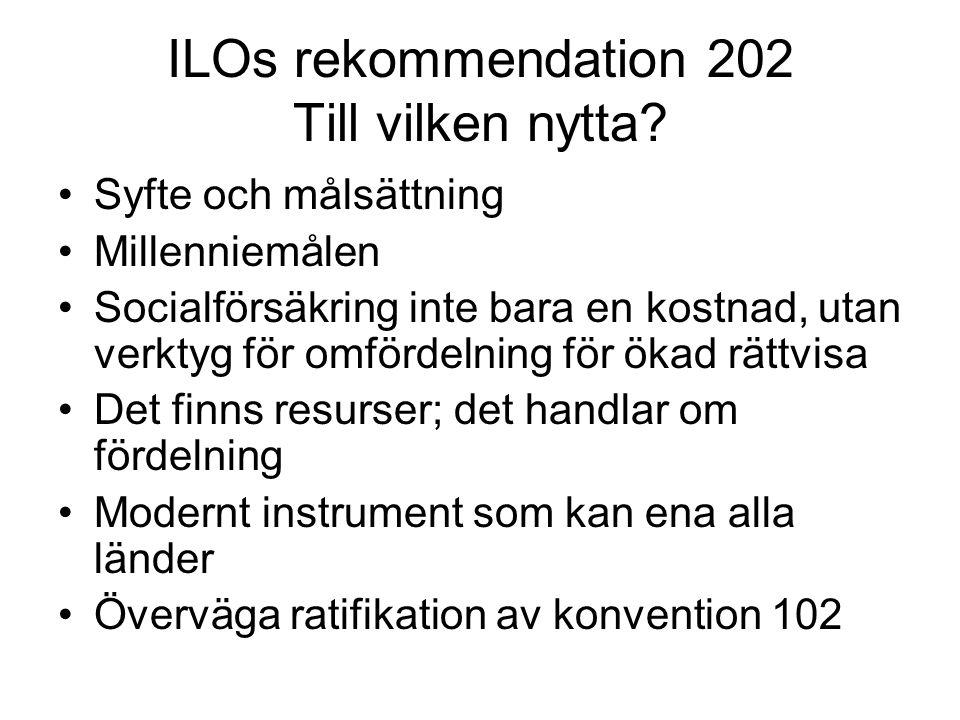 ILOs rekommendation 202 Till vilken nytta