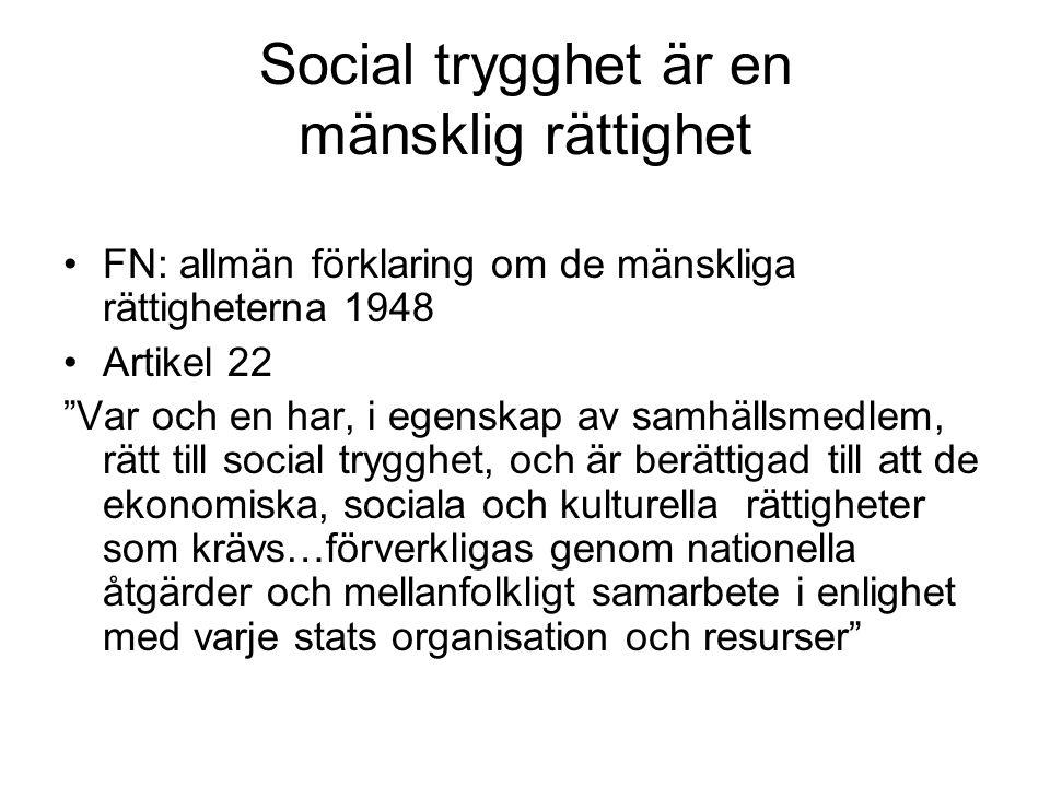 Social trygghet är en mänsklig rättighet