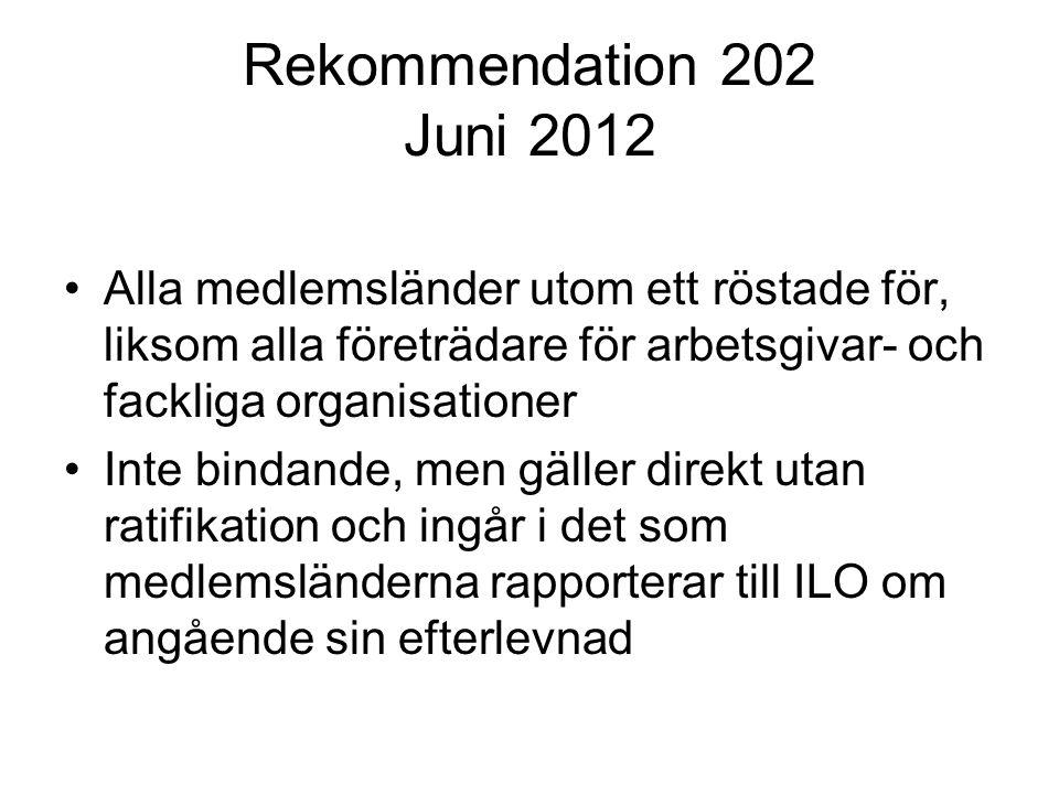 Rekommendation 202 Juni 2012 Alla medlemsländer utom ett röstade för, liksom alla företrädare för arbetsgivar- och fackliga organisationer.
