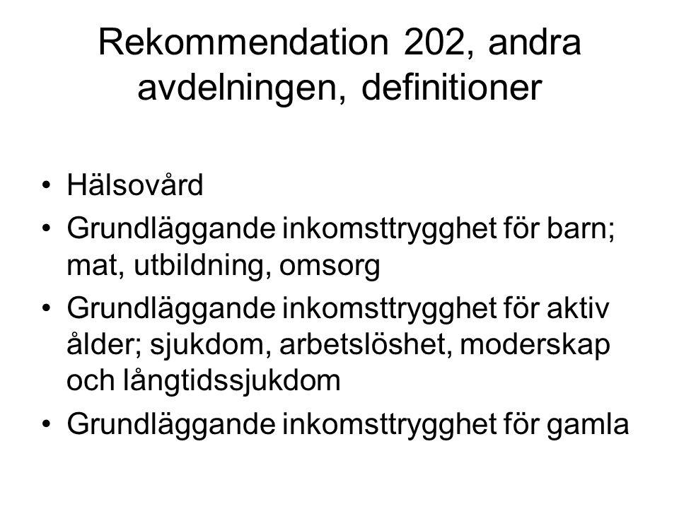 Rekommendation 202, andra avdelningen, definitioner