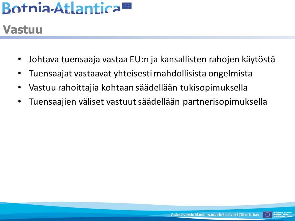 Vastuu Johtava tuensaaja vastaa EU:n ja kansallisten rahojen käytöstä