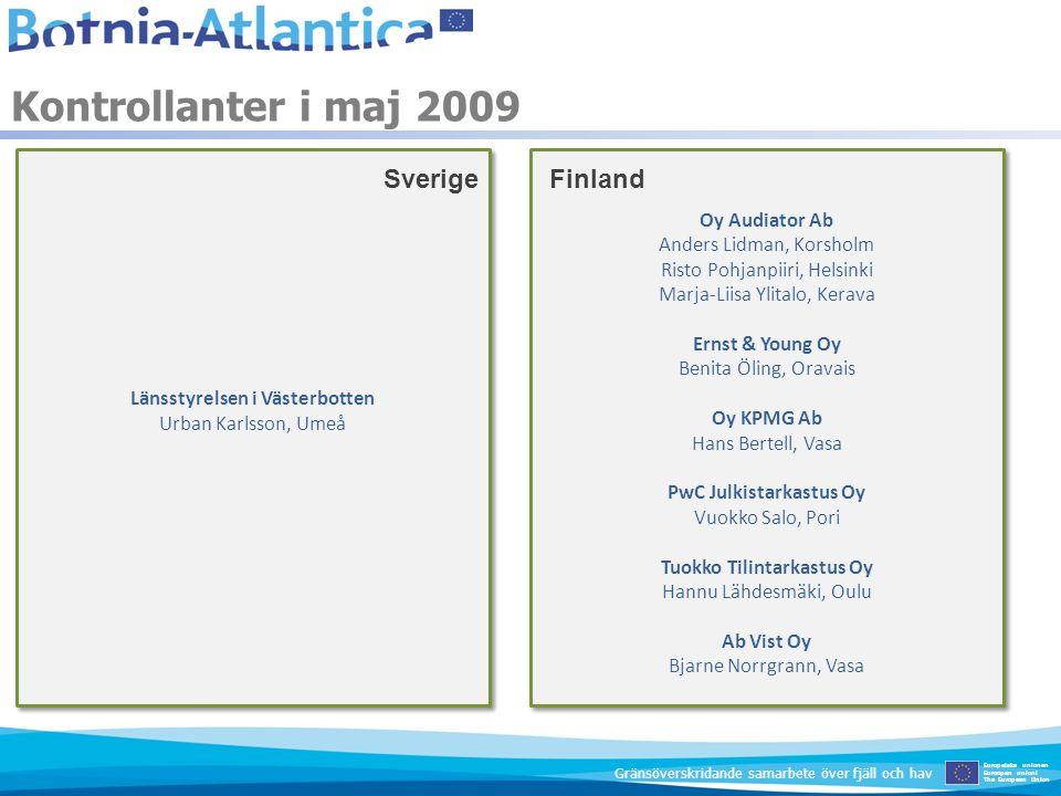 Kontrollanter i maj 2009 Sverige Finland Oy Audiator Ab