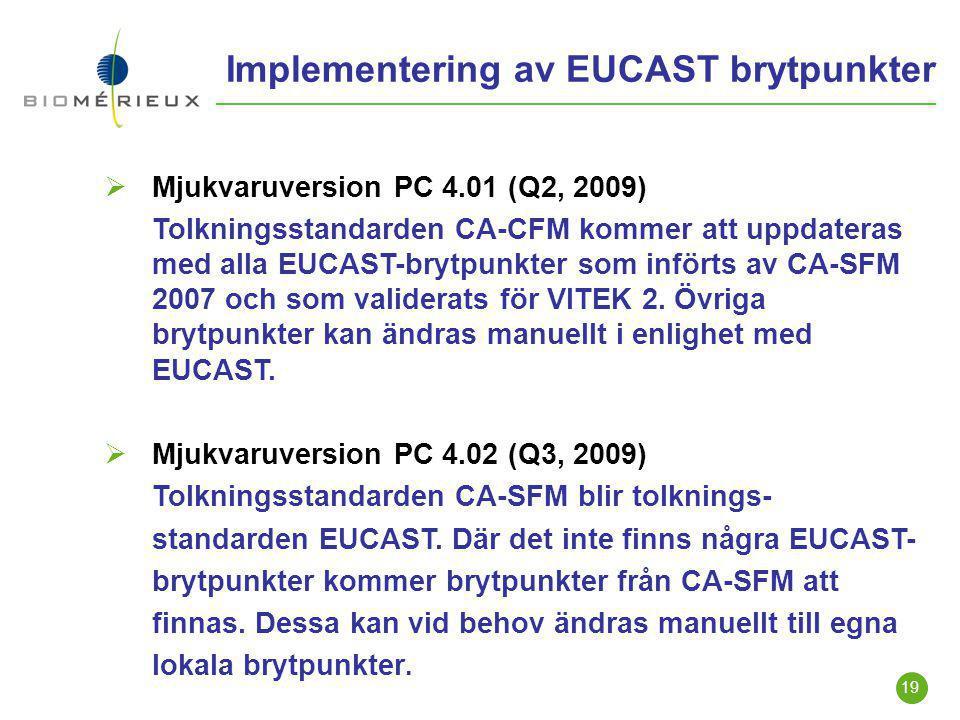 Implementering av EUCAST brytpunkter
