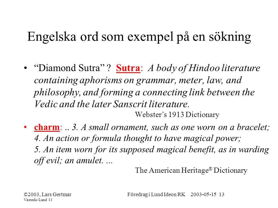 Engelska ord som exempel på en sökning