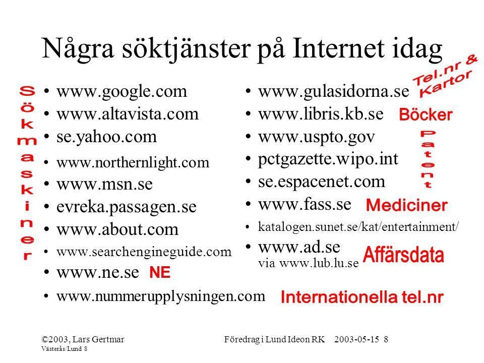 Några söktjänster på Internet idag