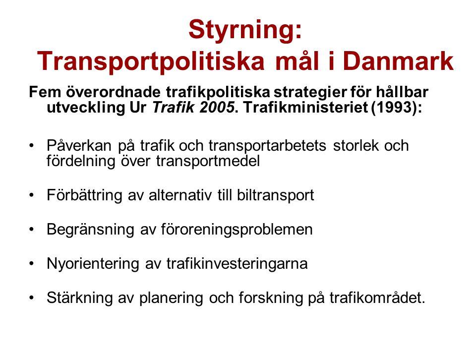 Styrning: Transportpolitiska mål i Danmark