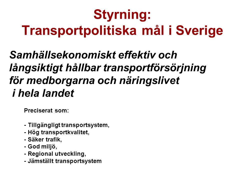 Styrning: Transportpolitiska mål i Sverige