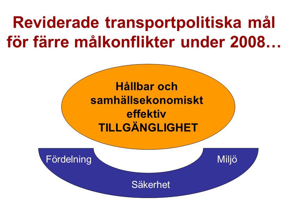 Reviderade transportpolitiska mål för färre målkonflikter under 2008…