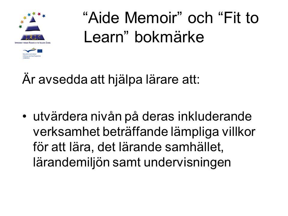 Aide Memoir och Fit to Learn bokmärke