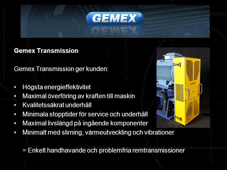 Gemex Transmission Gemex Transmission ger kunden: Högsta energieffektivitet. Maximal överföring av kraften till maskin.